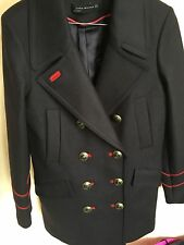 ZARA Navy Blue Wool Military Style Coat with Gold Buttons Medium M Jacket