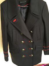 Zara abrigo estilo Militar de lana azul marino con botones de oro Mediana M Chaqueta