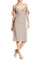 Paper Crown Anthropologie Strasbourg Floral Cold Shoulder Dress sz 2 Pink *Flaw