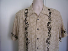 Men's UNTIED 100% Silk Hawaiian Button Up Shirt Tan Brown Floral Panel Size L