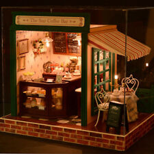 AU Wooden DIY Cabin Coffee House Kit Miniature Dollhouse With Music & Light Gift