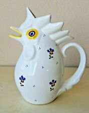 White Ceramic Rooster Chicken Pitcher Painted Floral Made in Italy