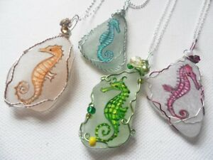 Hand painted Seahorse sea glass necklaces paintings choice of colours sea dragon