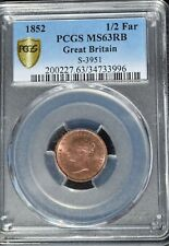 1852 Great Britain 1/2 Farthing, PCGS MS 63 RB, Scarce Date