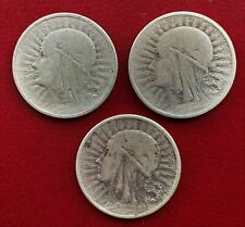 More details for poland, 1932 - 1934, 3 x silver 2 zlote coins - queen jadwiga