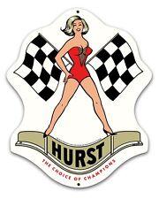 "Hurst Motor Mount Sign - 18"" x 14"" Gasser Drag Wheel Decal Shift Linda Vaughn"