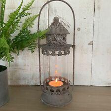 Grey Metal Glass Hurricane Lantern Metal Antique Chic Garden Candle Holder