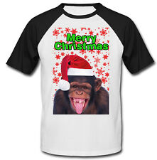 Monkey 3 merry Christmas snowflakes P - COTTON BASEBALL TSHIRT