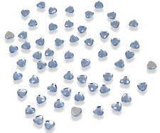 200 X BLUE HEART CRYSTALS DIAMANTE GEMS RHINESTONE EMBELLISHMENT 6MM FLAT BACK