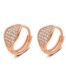 925 Sterling Silver Earrings Crystal Hoop Huggie Rose Gold Plating Jewellery