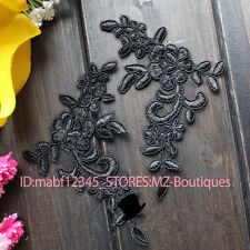 F180B 2PC,Flower Motif Fabric Embroidered tulle Lace Sewing Applique Dress Decor