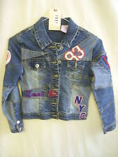 "Girls Jacket - Zana Di Jeans, age 7? 28"" bust, multi denim, patches, cool - 1111"