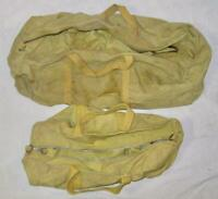 2 Antique Tan Yellow Light Olive Green Drab Duffle Bags WW1 WW2 Army (O) AS IS