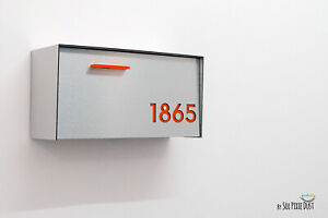 Modern Mailbox Brushed Silver Aluminum Face and Body, Orange numbers - Type 3