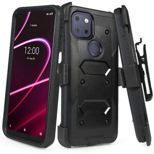 Cover for T-Mobile Revvl 5G Holster Case with Builtin Screen Protector+Belt Clip