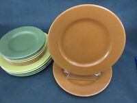Set of 2 Pier 1 Bohemian Burnt Orange Ironstone Dinner Plates 10 5/8""