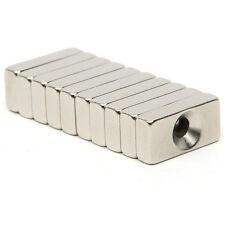 10 tlg Quader Starke Neodym Magnete NdFeB N52 5mm Loch Block 20 x10 x 5 mm