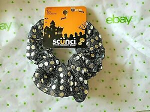 Scunci Jumbo Scrunchie Halloween The Big One Black With Silver Dots Mesh New