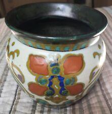 "1923 Gouda Goes Holland 3 1/2"" Vase - Green, White, Orange, Gold, & Cobalt"