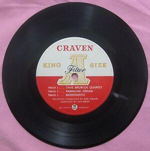 DAVE BRUBECK QUARTET 1962 PROMO-Craven A King Size Filter Cigarettes Label RARE!