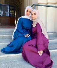 Abaya Muslim New Women Maxi Dress Satin Party Gown Dubai Jilbab Kaftan Long Robe