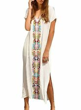 Womens Colorful Cotton Embroidered Turkish Kaftans Beachwear Bikini Cover up One