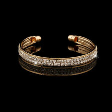 Fashion Womens Gold Crystal Rhinestone Bangle Cuff Bracelet Indian Jewelry New