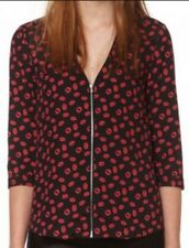 NWT $275 Claudie Pierlot Borisal Zip Front Lips Kisses V neck Top Bloomingdale's