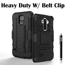 For Samsung Apple HTC LG Case Cover Heavy Duty Armor Box Belt Clip Holster Black