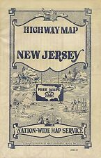 1934 Road Map NEW JERSEY Highway Pole Markers Atlantic City Hotel Dennis Horses