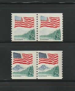 US EFO, ERROR Stamps: #2280a Flag Yosemite. Blue/Red ink freak, coil pair. MNH