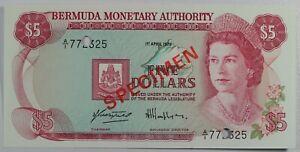 1982 Bermuda $5 Five Dollars Note SPECIMEN... Crisp Unc