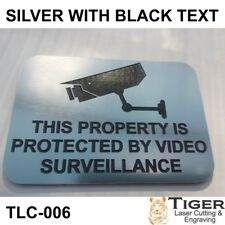 SECURITY CCTV WARNING SIGN - VIDEO SURVEILLANCE SIGN 10CM X 7CM SILVER