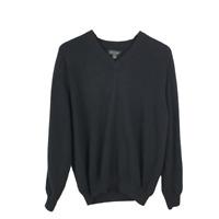 John W Nordstrom Mens 100% Cashmere Sweater Size XL Black Long Sleeve V-Neck