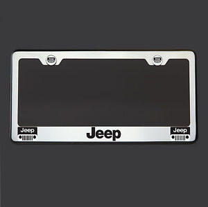 T304 Polish Mirror Stainless Steel Jeep Black Laser Etched License Plate Frame