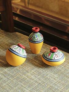 Exclusive Set of 3 Yellow Warli Hand-Painted Earthen Showpiece DIWALI DECOR GIFT