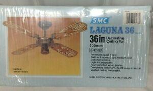 "NOS Sealed VTG SMC 36"" Laguna 36 Decorative Ceiling Fan 4 Stenciled Wood Blades"