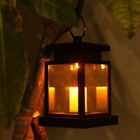 Solar Powered LED Candle Table Lantern Hanging Light Outdoor Garden Decor Lamp