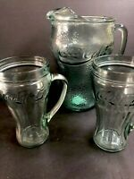 Coca Cola Coke Green Pebble Glass Pitcher And Drinking Glass Vintage Set Of 3