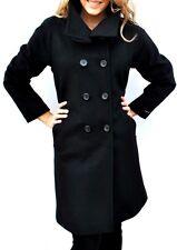 New Womens $400 Jones New York Wool Blend Long Coat Black Size 12