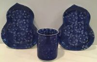 Vintage 3 Piece Blue & White Porcelain Japanese Snack Set Sushi And Tea Japan