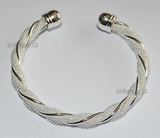 Twist Design Hallmarked Sterling Silver Plated 925 Design Bracelet.