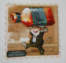 PK 2 MOUSE BIRTHDAY WHISKY BOTTLE EMBELLISHMENT TOPPERS FOR CARDS/CRAFTS