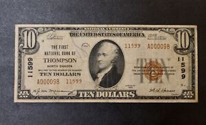First National Bank of Thompson North Dakota 10.00 Ten Dollars 11599