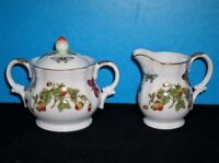 Lenwile Ardalt Strawberries and Butterflies Sugar Bowl and Creamer Set LADY BUGS