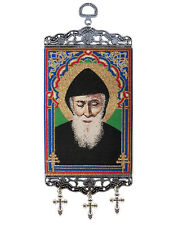 Saint St Charbel Sharbel Icon Sacred Image Tapestry Banner With Crosses 9 3/4""