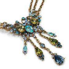 NEW SWEET ROMANCE EXOTIC BUTTERFLY BLUE/GREEN CRYSTAL NECKLACE ~~MADE IN USA~~