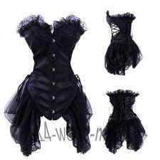 #Sexy3 Black Boned Waist Training Overbust Lace Up Corset Bustier Top Shaper AM