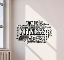 Fitness Wall Decal Gym Word Cloud Vinyl Sticker Sport Art Workout Decor 448