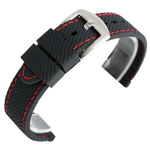 Silicone Watch Band 18mm 20mm 22mm 24mm Mens Sport Diver Waterproof Rubber Strap